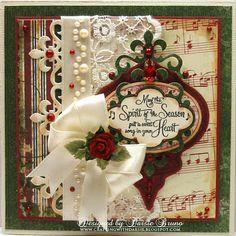 Using Spellbinders Heirloom Ornament, Fleur de Lis Accents and JustRite Stamps