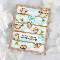 It's time to stampede along for the Mama Elephant March 2020 Release! I heart literally skipped a beat when I saw a new Agenda set! Birthday Puns, Birthday Cards, Happy Birthday, Cloud Stencil, Mama Elephant Stamps, Animal Party, My Stamp, Diy Cards, Note Cards