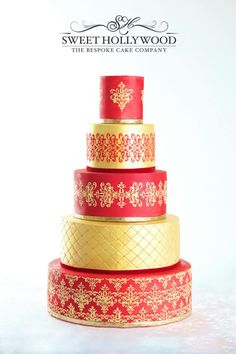 After public demand Sweet Hollywood present our red and gold showstopper to match traditional bridal colours for the young fashionable asian bride. Asian Wedding Cake