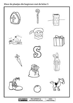Kleur de plaatjes die beginnen met de letter S [Marije Andringa] Coloring Sheets, Diy And Crafts, Logos, Holidays, Vacations, Colouring Sheets, Holidays Events, Coloring Book, A Logo
