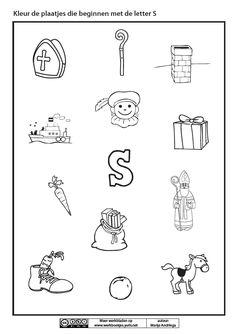 Kleur de plaatjes die beginnen met de letter S [Marije Andringa] Letter E, Coloring Sheets, Logos, Kids, Crafts, Young Children, Colouring Sheets, Boys, Manualidades