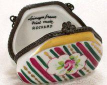 Limoges Purse Trinket Box Porcelain Roses France China Vintage Ring Box