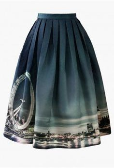 Night Skyline of London Print Midi Skirt - CHICWISH SKIRT COLLECTION - Skirt - Bottoms - Retro, Indie and Unique Fashion