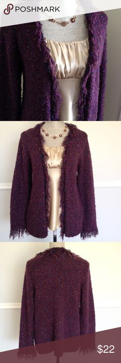 Coldwater Creek Sweater Purple tweed inspired fringe cardigan.  Fabric has threads of blue, pink, and orange woven in.  45% polyester, 30% rayon, 25% acrylic. Coldwater Creek Sweaters Cardigans