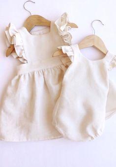 Handmade Ivory Linen Pinafore Dress & Romper | LandandFin on Etsy
