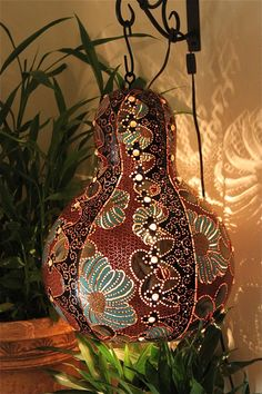 SCRUPULOUS- Painting, wall hanging, Gourd, lamp, glass, beadwork, Home Decor, Beach Cottage Decor, crown, black, blue, copper