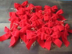 Vintage Red Ribbon Christmas Bow Lot by jessamyjay on Etsy. Great holiday crafting supply!