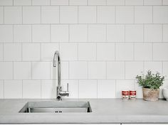 MINIMALIST AND TIMELESS The pure white and off-white shades of Contract White Wall tiles can complement any decor. Modern and contemporary, these tiles can be mixed with different collections and trims for a personalized look. White Wall Tiles, White Walls, Kitchenette, Bathroom Inspiration, Sweet Home, Sink, New Homes, Home And Garden, Minimalist