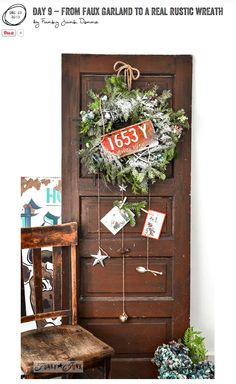 Turn an unused Christmas garland into a real rustic wreath! Easy, free and rather cool! via http://www.funkyjunkinteriors.net/ #12days72ideas