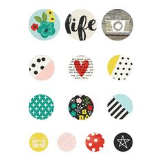 Simple Stories Life in Color Collection Bradz Scrapbook Supplies, Scrapbook Paper, Scrapbooking, Round Stickers, Cute Stickers, Gossamer Blue, Image Chat, Flat Design Icons, Circle Labels