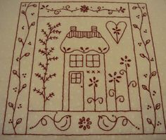 Ruby Cottage by Gail Pan Designs.  Love the patterned fabric to stitch on...