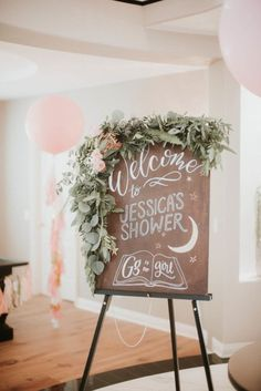 Greenery Bordered Wood Sign - Bohemian Baby Shower Ideas - Photos