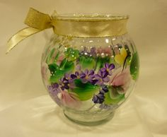 Hand Painted Vase Ivy Bowl Pink Roses Purple by bunnyhutchdesigns, $10.00