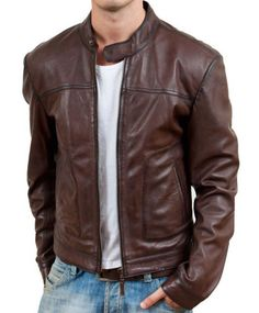 Brown Leather Men Bomber Jacket is purely made from real brown nappa leather with excellent fitting and design . It will be the perfect bomber outfit for you only available at Stinson Leathers
