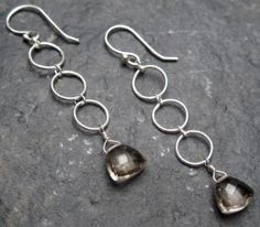Smoky Quartz on Sterling Silver Rounds