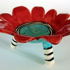 flower dish ceramic red & turquoise by maryjudy on Etsy