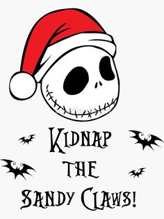 'Nightmare Before Christmas - Sandy Claws' Sticker by obsidiandream Nightmare Before Christmas Characters, Nightmare Before Christmas Ornaments, Grinch Christmas Party, Christmas Crafts, Holiday, Wreath Drawing, Arte Disney, Christmas Embroidery, Christmas Clipart