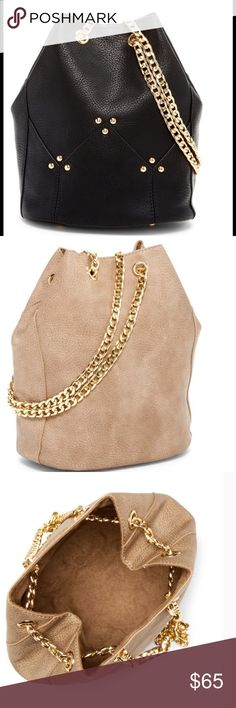 Last1🎉Black Leather Bucket Bag w Gold Chain Strap 🎉🎉Hurry Ladies Only 1 Left🎉🎉  💜Black High Quality Polyurethane Leather Bucket Bag With Gold Chain Straps & Studs💜  🚩Ladies you're going to love the quality of this bag...it's very versatile & can easily be dressed up or down to wear as a causal everyday purse...it can be worn as a crossbody or shoulder bag...btw I don't use filters on any of my pics so it will look exactly the same in person🚩           🚫No Trades Price Firm🚫…