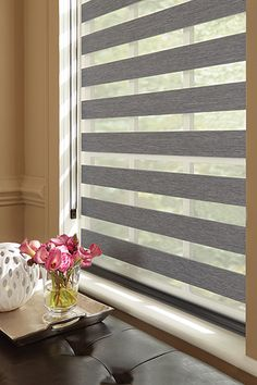 Graber Blinds Layered Shades with Continuous-Loop Lift: Bernina, Shale 4602 Nice Blinds #HomeDecor
