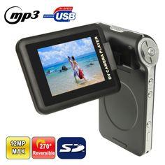 [$22.35] DV002 Black, 3.0 Mega Pixels 4X Zoom Portable Digital Video Camera with 2.4 inch TFT LCD Screen, 270 Degree Rotation, Support MP3 / MP4 Player / TV Out, Max Pixels: 5.0 Mega Pixels (Interpolation)