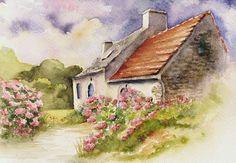 Häuschen, Bretagne, Hortensien, Romantisch, Aquarell, Architektur