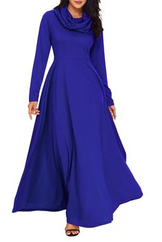 Royal Blue Cow Neck Long Sleeve Maxi Dress MB61844-5 – ModeShe.com Long Sleeve Maxi, Maxi Dress With Sleeves, Gypsy Style, Casual Dresses, Maxi Dresses, Blue Dresses, Casual Outfits, Fashion Pictures, Dress Collection