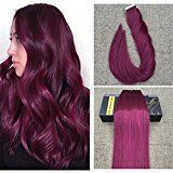 """Ugeat 22"""" Full Head 40Pcs 100Gram Tape in Human Hair Extensions Burgundy Color Remy Hair Glue in Silky Straight Hair Extensions 100% Real Human Hair Thick End Tape in Extensions"""