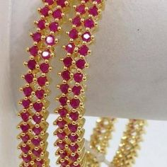 3 rows ruby stone bangles - Swarnakshi Jewels And Accessories Ruby Jewelry, Pink Jewelry, Jewelry Necklaces, Gold Necklace, Gold Bangles Design, Gold Jewellery Design, Ruby Bangles, Silver Bracelets, Gold Jewelry Simple