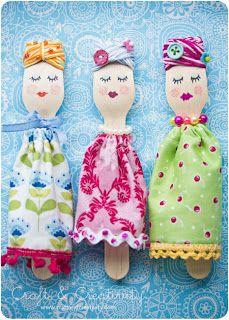 OCELLS AL TERRAT: Vacances i Nens: nines amb forquilles de fusta / Vacaciones y niños: muñecas con tenedores de madera