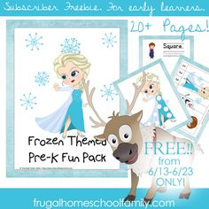 EXCLUSIVE FREEBIE! Frozen-Themed Fun Pack for Early Learners - Frugal Homeschool Family