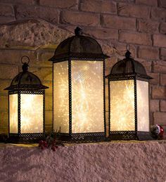 Twirling Starlight Lanterns, Set of 3 are mesmerizing and beautiful for the holidays or special occasions.