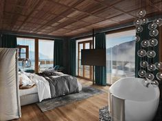 Luxuschalets in Leogang: SENHOOG Luxury Holiday Homes Beautiful Hotels, Most Beautiful, Rooms, Bed, Interior, Romance, Furniture, Home Decor, Fireplace Logs