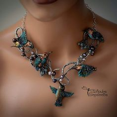 Birds of Paradise, lampwork necklace made by Irina Sergeeva