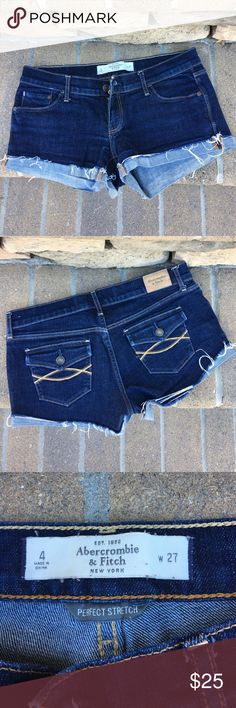 """Abercrombie low rise denim shorts Great condition, no stains or flaws. A dark wash denim that pairs well with any outfit. The button pockets in the back add a little extra something. Size 4 and I feel that they fit true to size, they are """"perfect stretch"""" and low rise. Total length = 8.5 inches. Inseam = 2 inches. Abercrombie & Fitch Shorts Jean Shorts"""