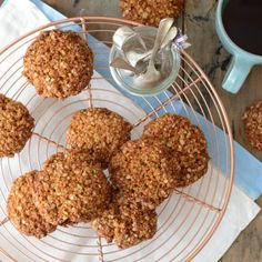 I have fond memories of making Anzac biscuits with my Nan – the dough tasted so good, about half of it would never make it to being baked into biscuits! Energy and fibre dense, and able to store for long … Continued Gf Recipes, Real Food Recipes, Baking Recipes, Dessert Recipes, Yummy Food, Recipies, Tasty, Healthy Recipes, Desserts