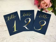 Navy and Gold Table Numbers Wedding Table Markers Wedding