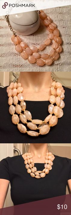 Peach light pink and gold necklace Beautiful gold chain with light pink/peach irregular translucent beads. Jewelry Necklaces