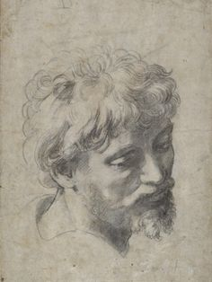 Executed in black chalk, Raphael's Head of an Apostle, c.1519-20, (est. £15000000 million, above) is a highly important drawing within the artist's oeuvre–an extremely refined study for one of the key figures in the Transfiguration - one of the greatest of all Renaissance paintings, which now hangs in the Vatican Museum in Rome.    @Sotheby's Auction 5 Dec 2012