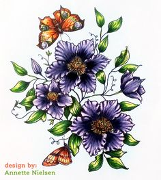 Climbing Clematis digital stamp set by  Power Poppy, card design Annette Nielsen.