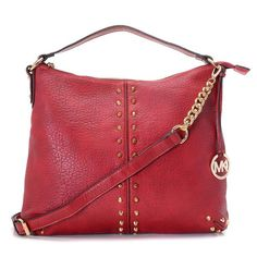 Michael Kors Outlet Weston Pebbled Stud Large Red Shoulder Bags
