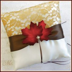 Fall leaves wedding ring bearer pillow ivory, chocolate brown, burnt orange and gold color scheme.