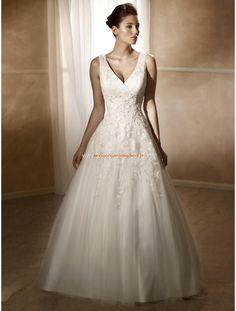 Mia Solano Liebste Süße A-linie Brautkleider aus Softnetz mit Applikation