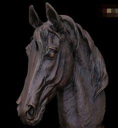 Xiuli 003206 mármore arte ocidental cobre Bronze escultura estátua cabeça de cavalo(China (Mainland))