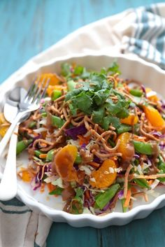 Crunchy Asian Cabbage Salad with Mandarin Oranges and Peanut Dressing - www.countrycleaver.com #FitFriday