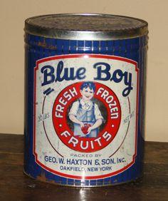 Blue Boy Fresh Frozen Fruits Tin. 30 pound size barrel.