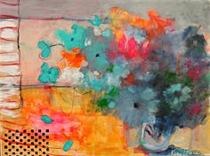 """Loose Abstract Floral Painting Colorful Modern Still Life """"Bouquet on the Window Sill"""" by Kerri Blackman 18x24"""""""