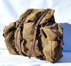 French Vintage Large Trekking Backpack Canvas and by BrocBalk