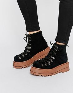 Jeffrey Campbell Rocky Platform Suede Lace Up Ankle Boots
