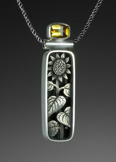 Nature themed sunflower sterling silver shadowbox pendant by Suzanne Williams. | via suzannewilliamsjewelery.com