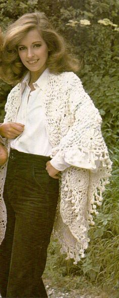 Flower Power Shawl Vintage Crochet Pattern 350 by knittedcouture on Etsy